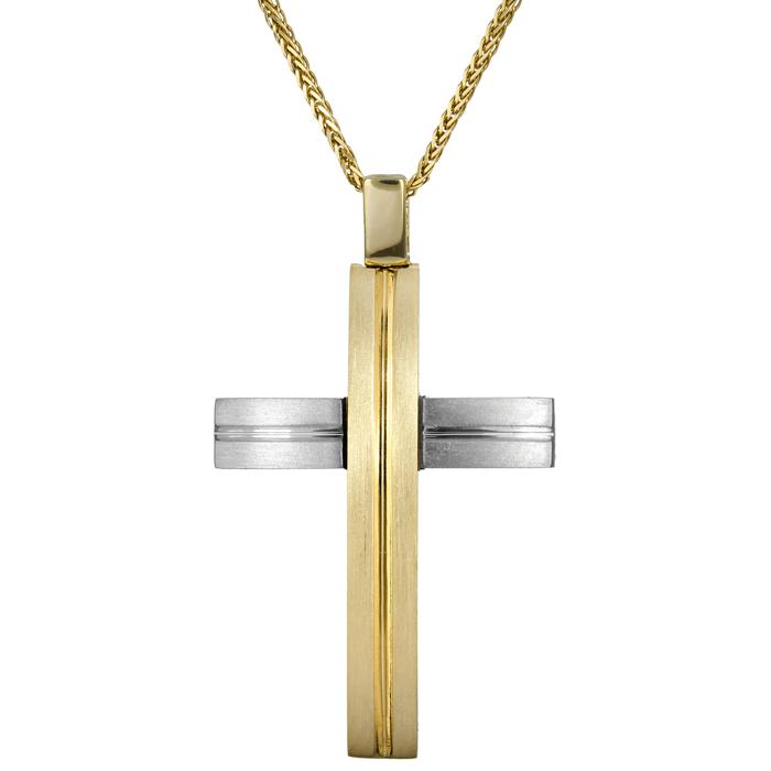 Βαπτιστικοί Σταυροί με Αλυσίδα Αντρικός σταυρός δίχρωμος 18Κ 024698C 024698C Ανδρικό Χρυσός 18 Καράτια