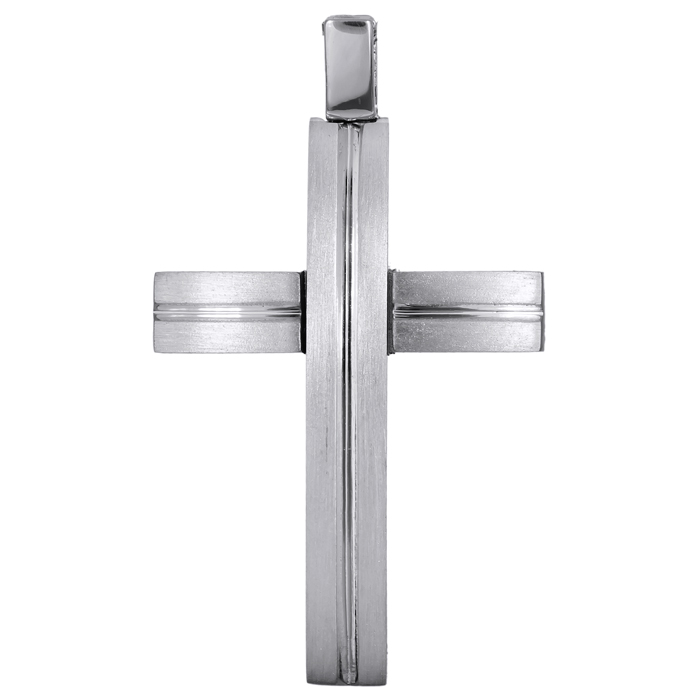Σταυροί Βάπτισης - Αρραβώνα Λευκόχρυσος αντρικός σταυρός 18Κ 024699 024699 Ανδρικό Χρυσός 18 Καράτια