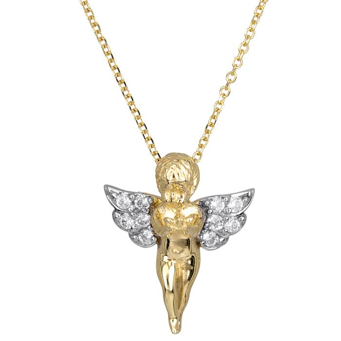 Κολιέ χρυσό Κ9 δίχρωμο αγγελάκι με ζιργκόν 024701 024701 Χρυσός 9 Καράτια