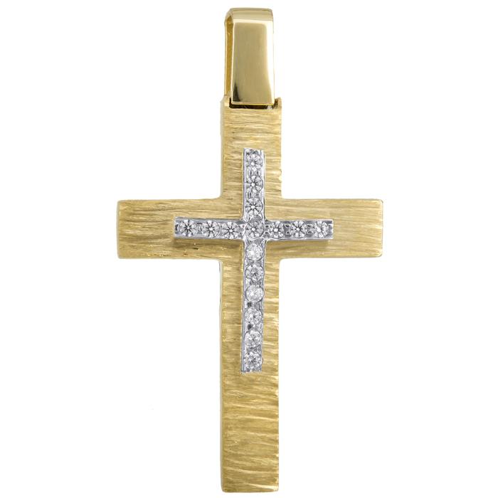 Σταυροί Βάπτισης - Αρραβώνα Γυναικείος χρυσός σταυρός με διαμάντια 18Κ 024729 024729 Γυναικείο Χρυσός 18 Καράτια