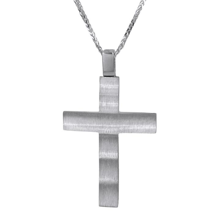 Βαπτιστικοί Σταυροί με Αλυσίδα Λευκόχρυσος σταυρός για αγόρι Κ14 024730C 024730C σταυροί βάπτισης   γάμου βαπτιστικοί σταυροί με αλυσίδα