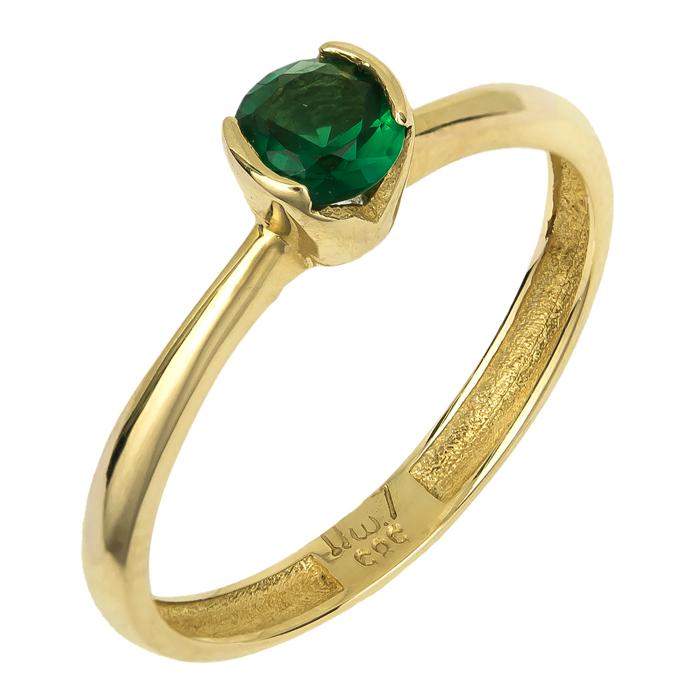 Χρυσό δαχτυλίδι με πράσινη πέτρα 14Κ 024746 024746 Χρυσός 14 Καράτια
