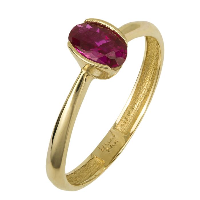 Χρυσό δαχτυλίδι με κόκκινη πέτρα 14Κ 024747 024747 Χρυσός 14 Καράτια ed7f52156af