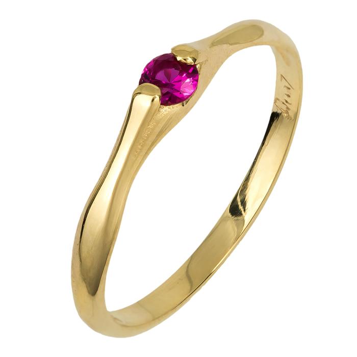 Γυναικείο δαχτυλίδι με κόκκινη ζιργκόν 14Κ 024750 024750 Χρυσός 14 Καράτια