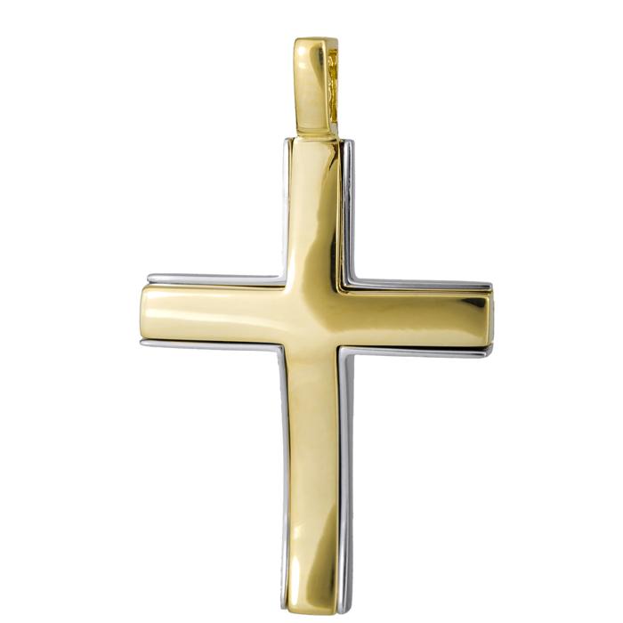 Σταυροί Βάπτισης - Αρραβώνα Δίχρωμος κλασικός σταυρός 14Κ 024800 024800 Ανδρικό Χρυσός 14 Καράτια