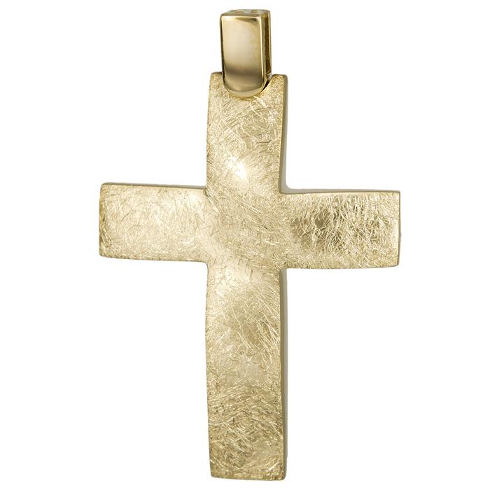 Σταυροί Βάπτισης - Αρραβώνα Χρυσός ματ σταυρός 14Κ 024803 024803 Ανδρικό Χρυσός 14 Καράτια