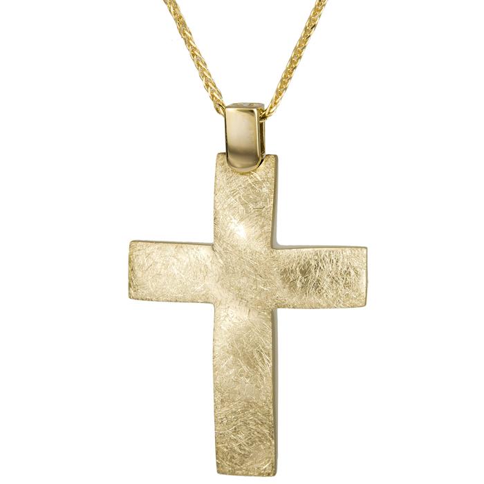Βαπτιστικοί Σταυροί με Αλυσίδα Αντρικός ματ σταυρός με αλυσίδα 14Κ 024803C 024803C Ανδρικό Χρυσός 14 Καράτια