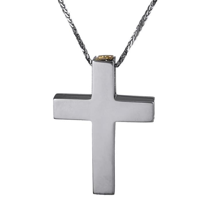 Βαπτιστικοί Σταυροί με Αλυσίδα Χειροποίητος σταυρός διπλής όψης 14Κ 024807C 024807C Ανδρικό Χρυσός 14 Καράτια
