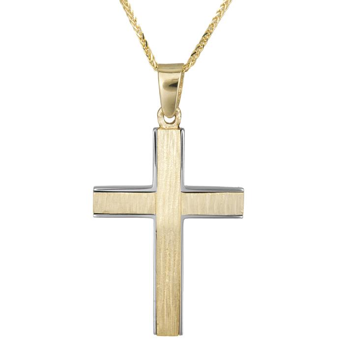 Βαπτιστικοί Σταυροί με Αλυσίδα Σταυρός διπλής όψης με αλυσίδα 14Κ 024811C 024811C Ανδρικό Χρυσός 14 Καράτια