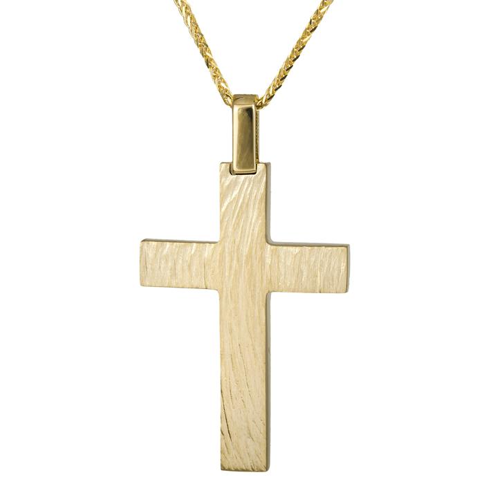 Βαπτιστικοί Σταυροί με Αλυσίδα Χρυσός σταυρός βάπτισης Κ14 C024815 024815C Ανδρικό Χρυσός 14 Καράτια