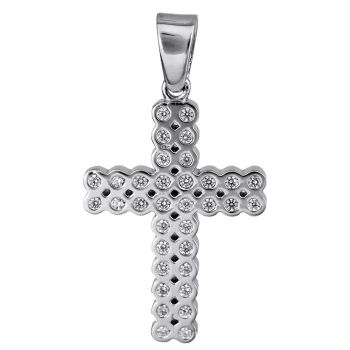 Σταυροί Βάπτισης - Αρραβώνα Λευκόχρυσος σταυρός με πέτρες Κ14 024824 024824 Γυναικείο Χρυσός 14 Καράτια