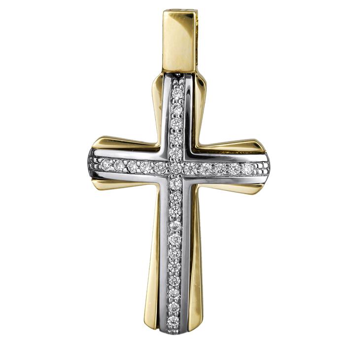 Σταυροί Βάπτισης - Αρραβώνα Γυναικείος σταυρός με πέτρες Κ14 024825 024825 Γυναικείο Χρυσός 14 Καράτια