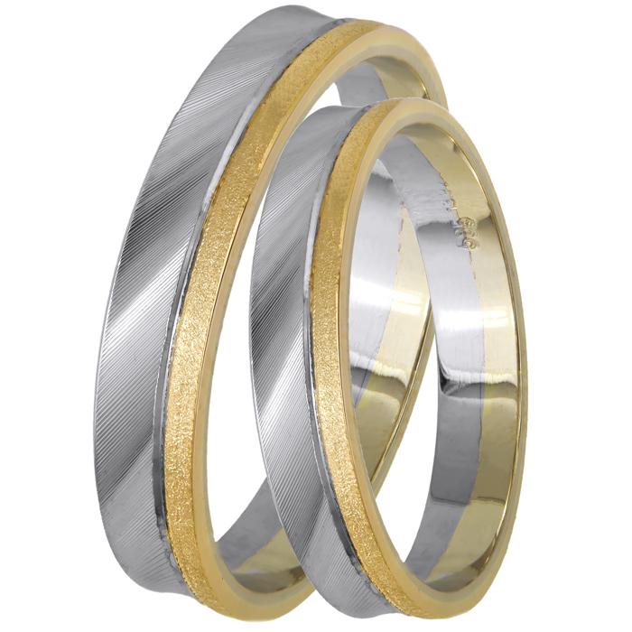 Δίχρωμες βέρες γάμου ματ Κ14 024839 024839 Χρυσός 14 Καράτια