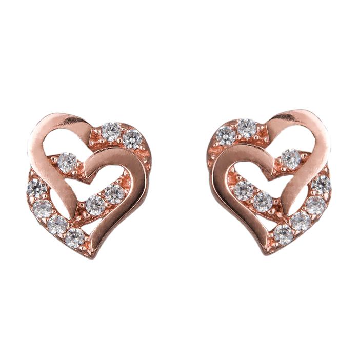 Ροζ gold σκουλαρίκια καρδούλες 14Κ 024844 024844 Χρυσός 14 Καράτια