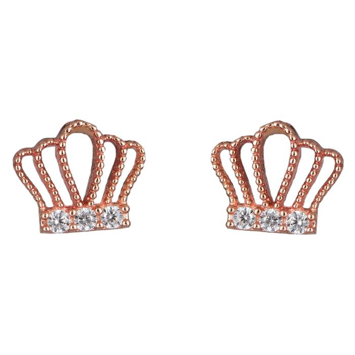 Σκουλαρίκια κορώνα ροζ gold Κ14 024846 024846 Χρυσός 14 Καράτια