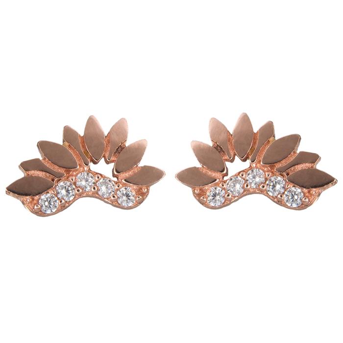 Ροζ gold σκουλαρίκια με πέτρες Κ14 024847 024847 Χρυσός 14 Καράτια