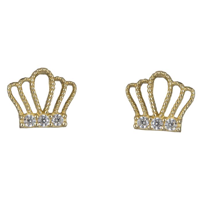Σκουλαρίκια χρυσά κορώνα Κ14 024850 024850 Χρυσός 14 Καράτια