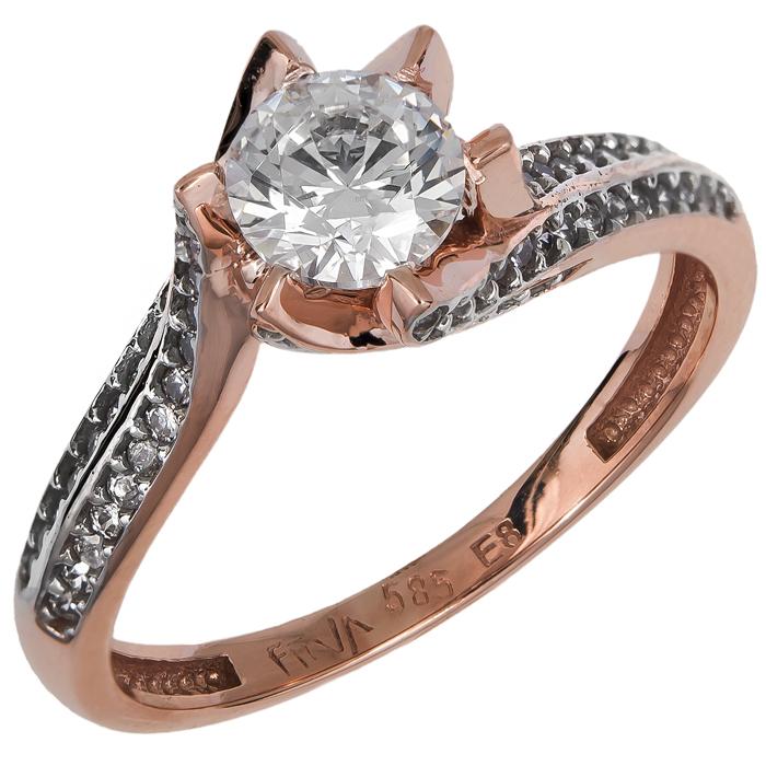 Ροζ gold δαχτυλίδι μονόπετρο Κ14 024904 024904 Χρυσός 14 Καράτια
