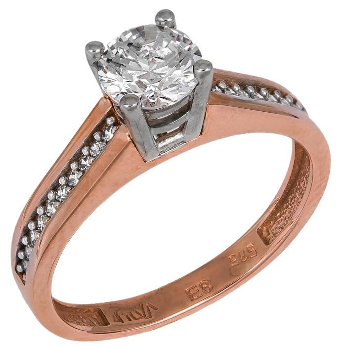 Μονόπετρο ροζ gold με ζιργκόν 024907 024907 Χρυσός 14 Καράτια χρυσά κοσμήματα δαχτυλίδια μονόπετρα