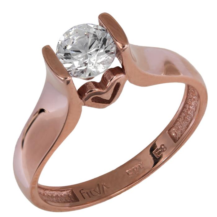 Ροζ gold μονόπετρο με καρδούλα 14Κ 024912 024912 Χρυσός 14 Καράτια χρυσά κοσμήματα δαχτυλίδια μονόπετρα