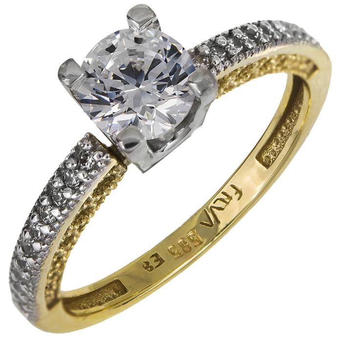 Μονόπετρο δαχτυλίδι δίχρωμο Κ14 024913 024913 Χρυσός 14 Καράτια