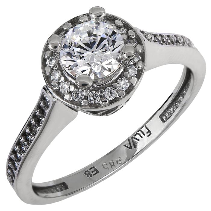 Λευκόχρυσο μονόπετρο με ζιργκόν Κ14 024914 024914 Χρυσός 14 Καράτια χρυσά κοσμήματα δαχτυλίδια μονόπετρα