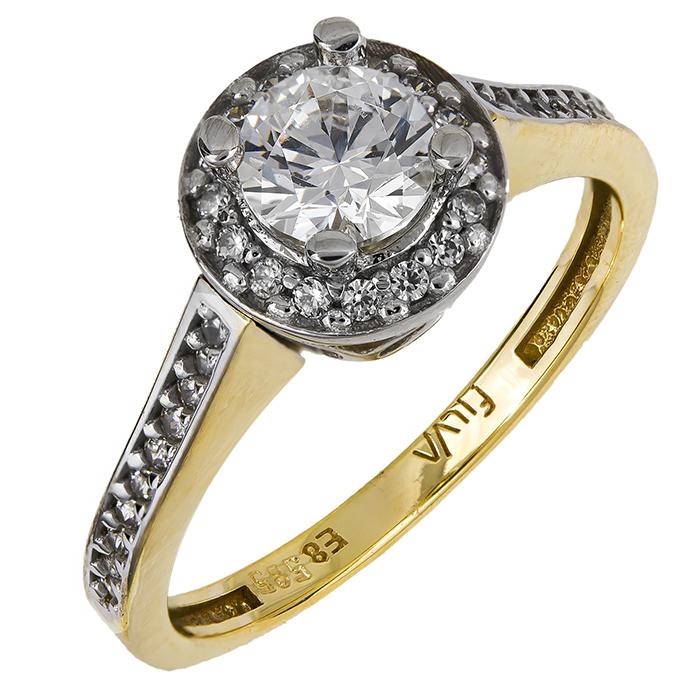 Δίχρωμο μονόπετρο με ζιργκόν Κ14 024915 024915 Χρυσός 14 Καράτια χρυσά κοσμήματα δαχτυλίδια μονόπετρα