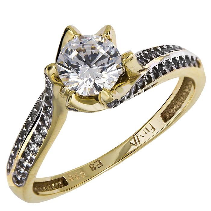 Χρυσό δαχτυλίδι μονόπετρο Κ14 024916 024916 Χρυσός 14 Καράτια