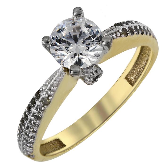 Δίχρωμο γυναικείο μονόπετρο Κ14 024917 024917 Χρυσός 14 Καράτια