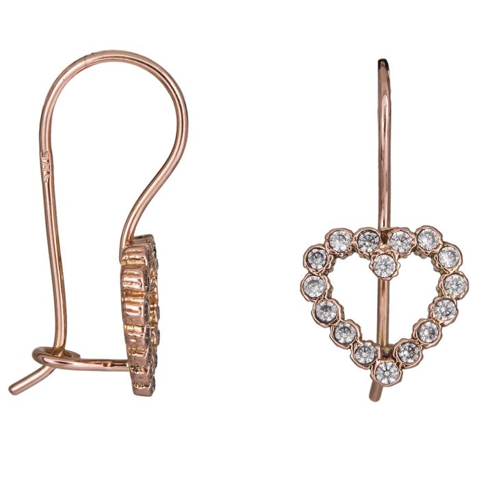 Ροζ gold σκουλαρίκια καρδούλες Κ14 024928 024928 Χρυσός 14 Καράτια