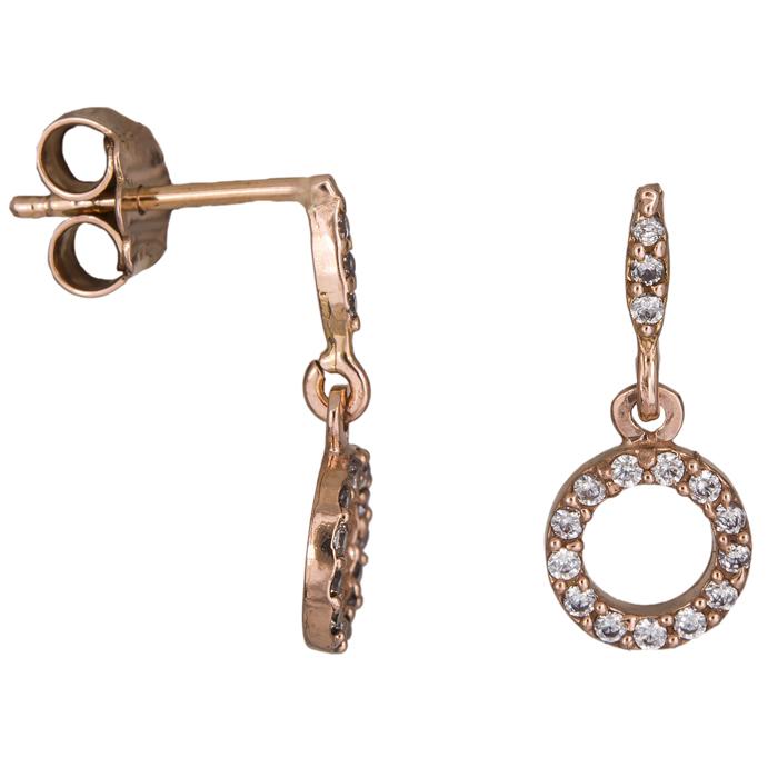 Ροζ gold γυναικεία σκουλαρίκια Κ14 024931 024931 Χρυσός 14 Καράτια