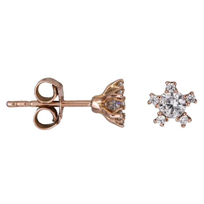 Ροζ gold γυναικεία σκουλαρίκια Κ14 024932 024932 Χρυσός 14 Καράτια