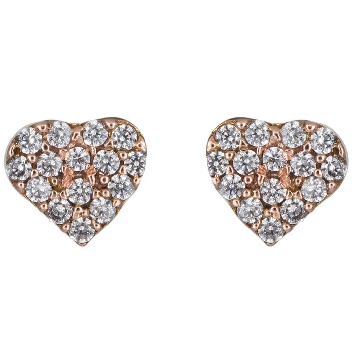 Ροζ gold σκουλαρίκια καρδούλες Κ14 024938 024938 Χρυσός 14 Καράτια