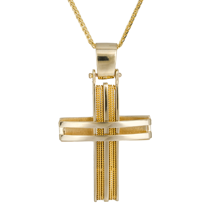 Βαπτιστικοί Σταυροί με Αλυσίδα Συρματερός αντρικός σταυρός 14Κ C024962 024962C Ανδρικό Χρυσός 14 Καράτια