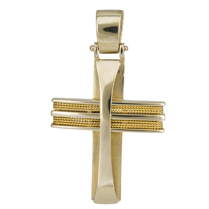 Σταυροί Βάπτισης - Αρραβώνα Συρματερός χρυσός σταυρός Κ14 024966 024966 Ανδρικό Χρυσός 14 Καράτια