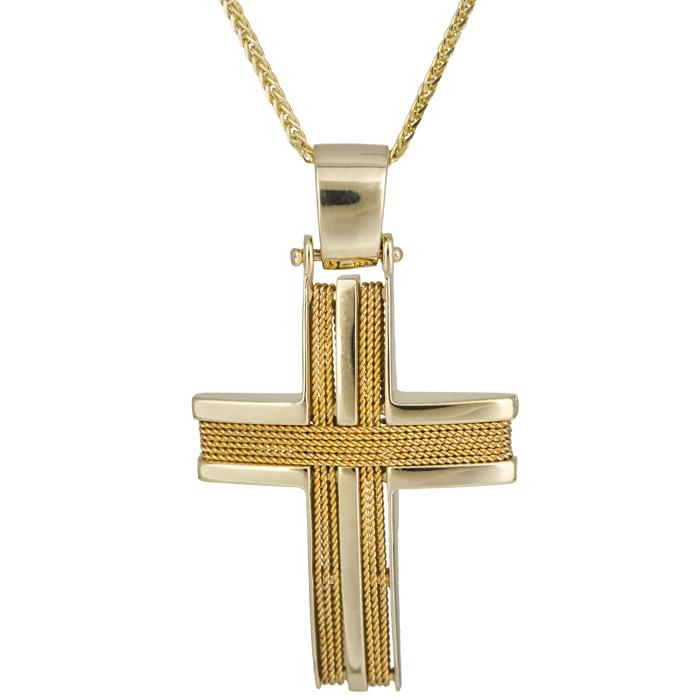 Βαπτιστικοί Σταυροί με Αλυσίδα Αντρικός σταυρός με σύρμα 14Κ C024967 024967C Ανδρικό Χρυσός 14 Καράτια