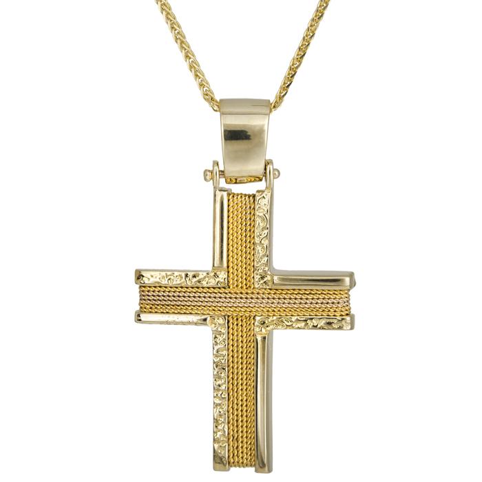 Βαπτιστικοί Σταυροί με Αλυσίδα Χειροποίητος σταυρός με σύρμα 14Κ C024969 024969C Ανδρικό Χρυσός 14 Καράτια
