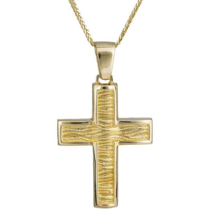 Βαπτιστικοί Σταυροί με Αλυσίδα Αντρικός ανάγλυφος σταυρός Κ14 024971C 024971C Ανδρικό Χρυσός 14 Καράτια