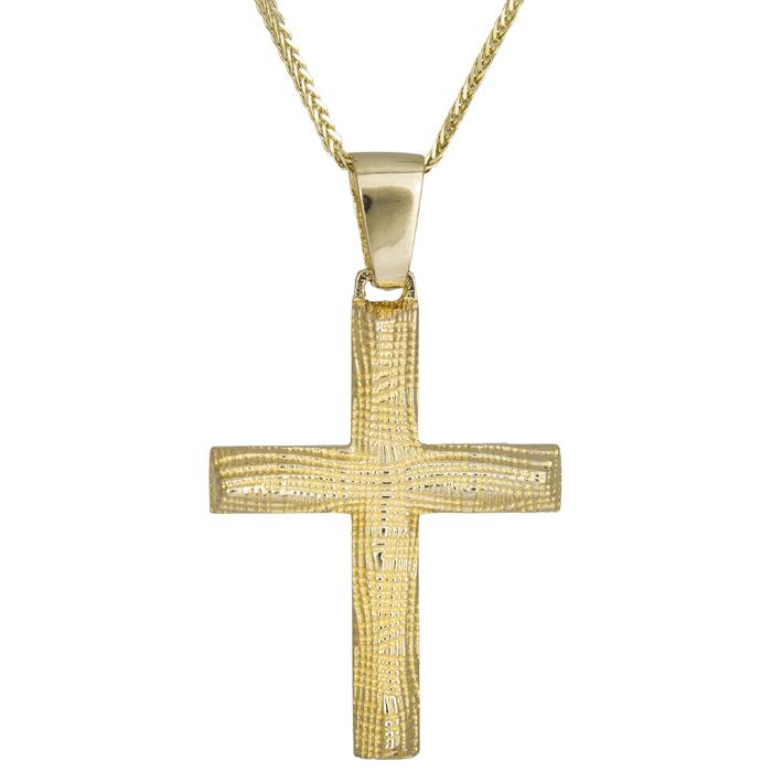 Βαπτιστικοί Σταυροί με Αλυσίδα Ανάγλυφος βαπτιστικός σταυρός Κ14 024972C 024972C Ανδρικό Χρυσός 14 Καράτια