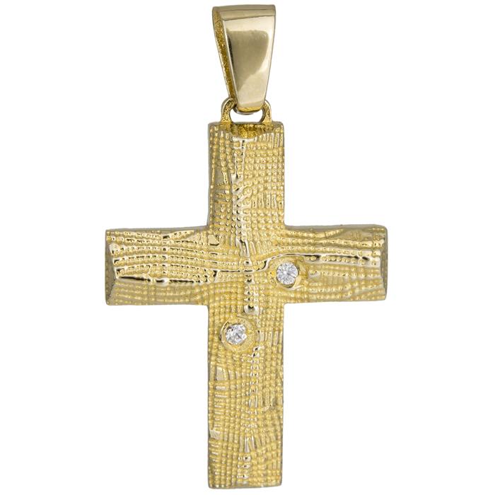 Σταυροί Βάπτισης - Αρραβώνα Ανάγλυφος σταυρός με πέτρες 14Κ 024976 024976 Γυναικείο Χρυσός 14 Καράτια