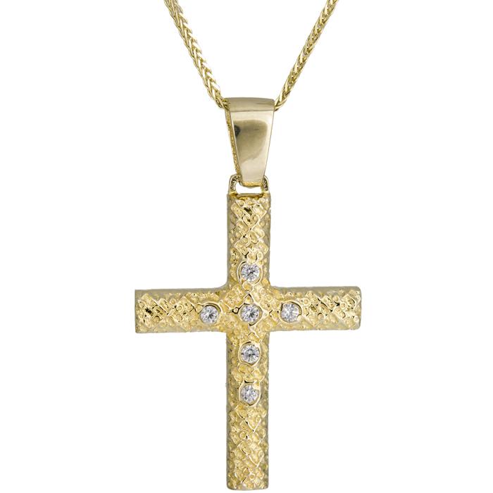 Βαπτιστικοί Σταυροί με Αλυσίδα Ανάγλυφος σταυρός με αλυσίδα Κ14 024977C 024977C Γυναικείο Χρυσός 14 Καράτια