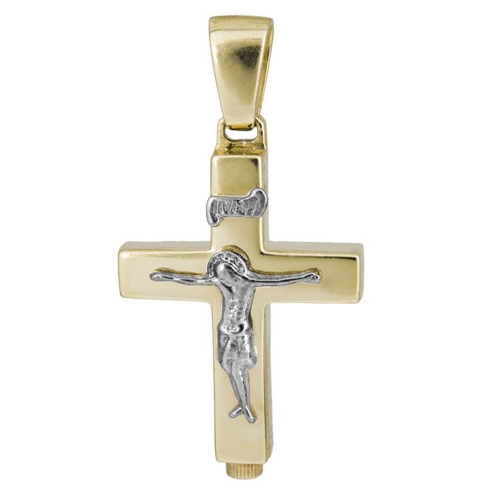Σταυροί Βάπτισης - Αρραβώνα Κλασικός αντρικός σταυρός με τον Εσταυρωμένο 14Κ 024978 024978 Ανδρικό Χρυσός 14 Καράτια