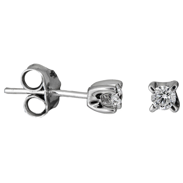 Λευκόχρυσα σκουλαρίκια με μπριγιάν Κ18 024981 024981 Χρυσός 18 Καράτια