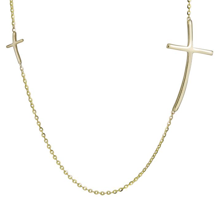 Χρυσό κολιέ με σταυρουδάκια Κ9 024984 024984 Χρυσός 9 Καράτια