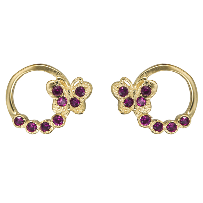 Παιδικά σκουλαρίκια με πεταλούδα Κ14 024994 024994 Χρυσός 14 Καράτια