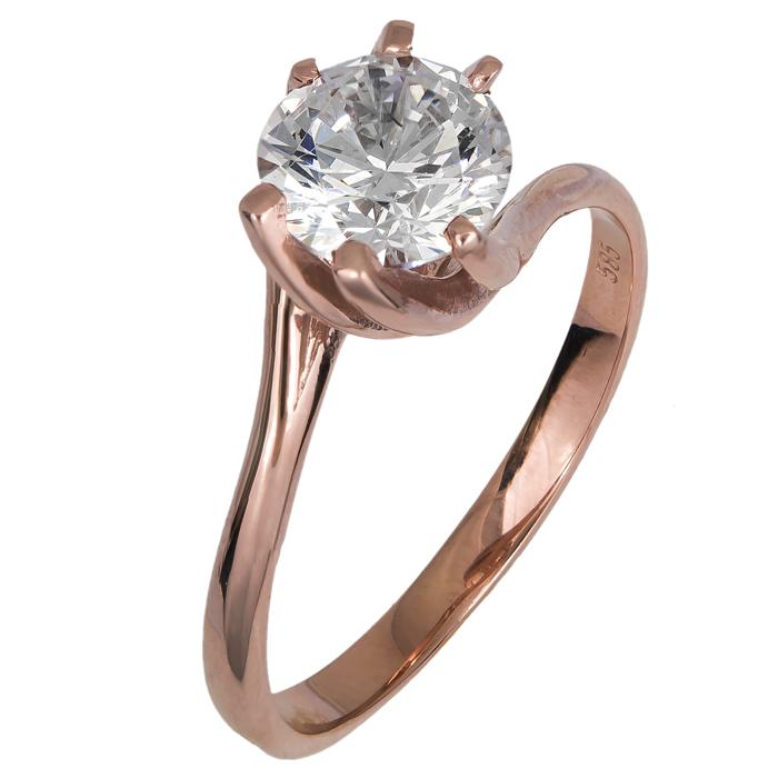 Ροζ gold Μονόπετρο δαχτυλίδι 14Κ 024996 024996 Χρυσός 14 Καράτια
