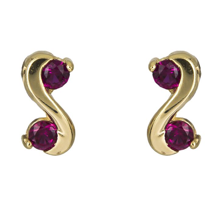 Σκουλαρίκια με κόκκινες πέτρες Κ14 025004 025004 Χρυσός 14 Καράτια