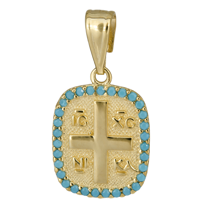 Κωνσταντινάτο με τυρκουάζ πέτρες 14Κ 025005 025005 Χρυσός 14 Καράτια