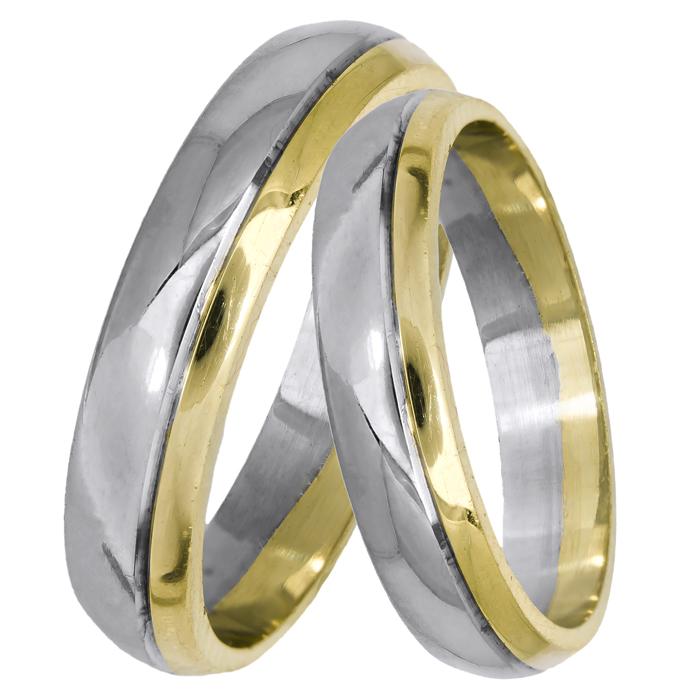 Βέρες γάμου κλασικές δίχρωμες Κ14 025022 025022 Χρυσός 14 Καράτια