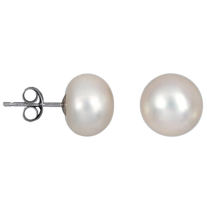 Λευκόχρυσα σκουλαρίκια με μαργαριτάρια 025027 025027 Χρυσός 14 Καράτια